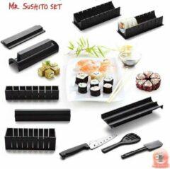 Zwarte Mr. Sushito 11-Delige Sushi Maker Set - Mr. Sushito All in One Sushi Roller Set - Sushimaker Tool - Doe het zelf - Sushi Go- Sushi maken - Incl. twee paar Chopsticks