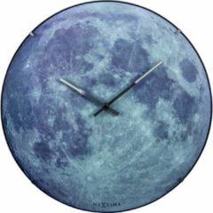 NeXtime Blue Moon Dome - Klok - Stil Uurwerk - Glas - Rond - Ø35 cm - Grijs / Blauw - Glow in the dark