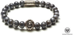 Rebel & Rose Rebel and Rose RR-8L025-S Rekarmband Beads Lion Grey Seduction 8 mm zilverkleurig-grijs L 19 cm