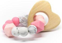 Roze Bijtring Hout Lalieloe - Bijtspeelgoed - Kraamcadeau - Noor