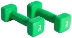 Groene Pure2Improve Neopreen Dumbell set 2x2 kg