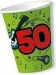 Merkloos / Sans marque 20x stuks papieren bekers party 50 jaar verjaardag groen - Leeftijd feestartikelen