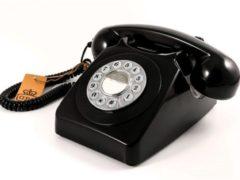 Zwarte GPO 746PUSHBLA Telefoon met druktoetsen klassiek jaren '70 ontwerp