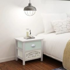 Witte VidaXL Franse nachtkastjes shabby chic 2 stuks hout