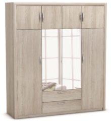 Young Furniture Kledingkast Pretty 198 cm breed - Shannon eiken met spiegel