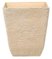 Beliani Bloempot beige vierkant 49x49x53 cm DELOS