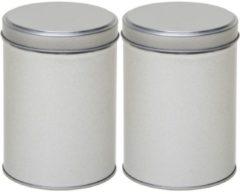 2x Zilveren rond opbergblikken/bewaarblikken 13 cm - Zilveren koffiepads/koffiecups voorraadblikken - Voorraadbussen
