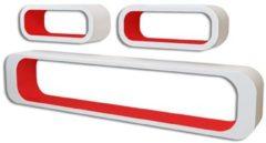 VidaXL Wandplanken kubus 6 st rood en wit