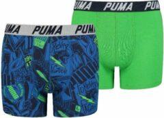 Puma - AOP Boxer 2P Boys - Blauw/Groen - Kinderen - maat 152