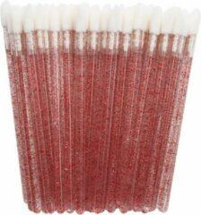 Lashes & More Lipgloss / Oogschaduw Borsteltjes - 50 stuks - Rood met glitter - Lipgloss applicators - brush lipstick make-up lip pluisvrij oogschaduw borsteltje