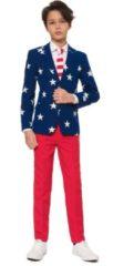 OppoSuits Stars & Stripes Pakken voor Jongens van Hoge Kwaliteit – Stars & Stripes Kostuum bevat Pantalon, Jasje en Stropdas! Maat 170/176