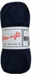 Donkerblauwe Beijer BV Cotton eight 8/4 onbewerkt dun katoen garen - donker blauw (319) - naald 2,5 a 3