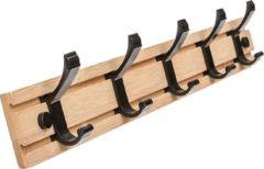 QUVIO Kapstok bamboe hout / Kapstok voor wandmontage met 5 verschuifbare ophangpunten - Beige en zwart