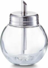 Transparante Zeller 1x Suikerstrooiers rond van glas/metaal 240 ml - Keukenbenodigdheden - Keukenaccessoires - Suikerstrooiers/suikerpotjes voor thuis en in de horeca