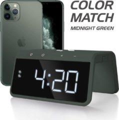Groene Caliber HCG019QI-MG - Wekker met draadloos laden - Midnight Green