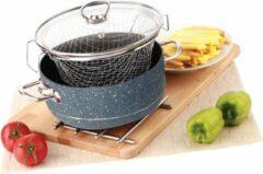 Grijze Menzir Frituurpan - frietpan - Ø 22.5 cm Graniet - Zwart