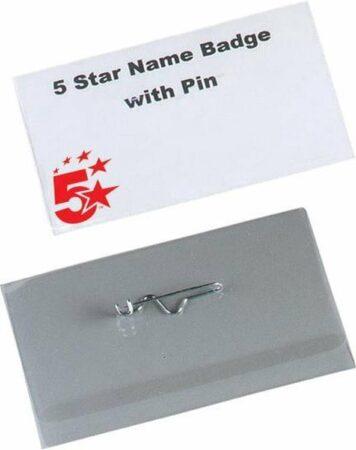 Afbeelding van 5 Star badge met speld ft 40 x 75 mm, doos van 100 stuks