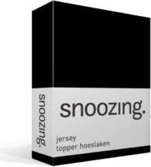 Snoozing jersey topper hoeslaken - 100% gebreide katoen - 1-persoons (90x210/220 cm) - Zwart