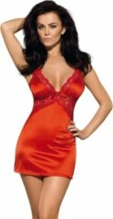Rode Obsessive Secred Satijnen jurkje & String - L/XL
