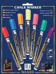 Securit krijtmarker small, blister met 7 stuks in geassorteerde kleuren
