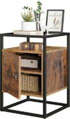 Acaza Nachtkastje uit hout en gehard glas, met kast, voor slaapkamer, woonkamer, gang, industriële stijl - Rustiek bruin
