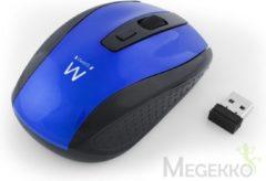 Ewent EW3238 muis RF Draadloos Optisch 1600 DPI Ambidextrous Zwart, Blauw