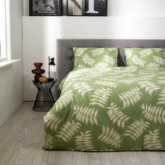 Fresh&Co Fresh & Co - Tweepersoons Dekbedovertrek groen Plants 200x220 cm - Polycotton - Dekbedovertrek met 2 kussenslopen
