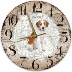 Bruine Creatief Art Houten Klok - 30cm - Hond - kooikerhondje
