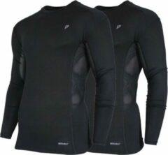 2-Pack Donnay compressie shirt Lange mouw - Baselayer - Heren - Maat XXL - Zwart