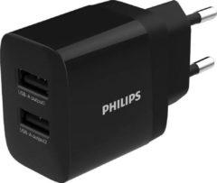 Philips DLP2620/12 Dubbele Oplader - Wandmodel - 2x USB - 230V - Zwart