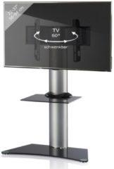 TV-Standfuß LED Ständer Fernseh Standfuss Alu Glas Universal 'Findal Zwischenboden' Universell VESA VCM Schwarzglas