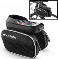 Zwarte Decopatent® PRO Fiets Frametas met Telefoonhouder - Dubbele Fietstassen - Waterdicht - Racefiets - MTB - Fietsen - 6.2 Inch Gsm