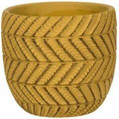 Gouden NDT International Pot Ronda Yellow 14x13 cm gele ronde bloempot voor binnen
