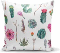 Roze Zijou Sierkussen met cactus planten motieven stijlvol voor in de woonkamer -Kussens woonkamer - Binnen of Buiten decoratie sierkussens 45x45cm