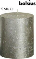 Bolsius rustieke stompkaars 80/68 zilver metallic 4-pack kaarsdecoratie stompkaars