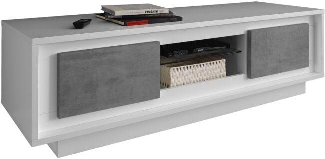 Afbeelding van Pesaro Mobilia Tv meubel SKY 156 cm breed - Wit met grijs beton
