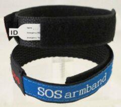 Uppi SOS klittenband bandje Blauw met 2 beschrijfbare labels