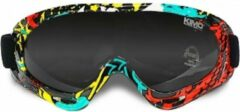 Kimo Crossbril voor kinderen met UV-bescherming | Veiliigheidsbril voor kinderhelm | snowboard | Geel/groen/rood