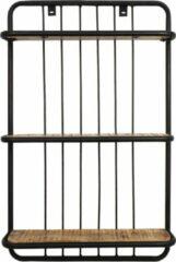 HSM Collection Wandplank - 3 planken - 50x12x80 - Zwart/naturel - Mangohout/ijzer