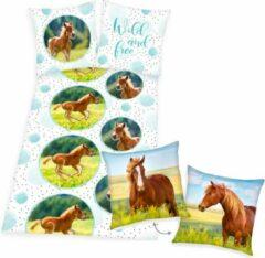 Groene Herding Dekbedovertrek Veulen, 140 x 200 cm, dekbed Paard, eenpersoons - incl. sierkussen bruin paard 40x40 cm