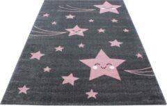 Kids Laagpolig Vloerkleed - Happy Stars - Rond - Roze - 160 x 160 cm - Vintage, Patchwork, Scandinavisch & meer stijlen vind je op WoonQ.nl