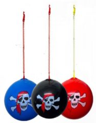 Massamarkt Keychain ball pirate blauw rood of zwart