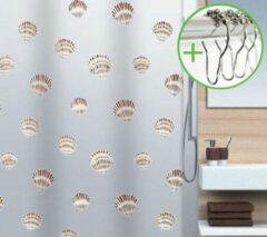 Spirella Shell - Douchegordijn - Bruin - Vinyl - 180 x 200 cm | DOUCHEGORDIJN + RINGEN
