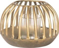 Clayre & Eef Windlicht 6Y3356 Ø 15*10 cm - Koperkleurig Metaal KaarsenhouderSfeerverlichting