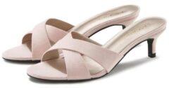 Roze LASCANA slippers van leer met kurkvoetbed