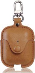 Bruine ZAMOH Etui - Hoes - Leer - Donkerblauw - geschikt voor Apple Airpods 1 en 2