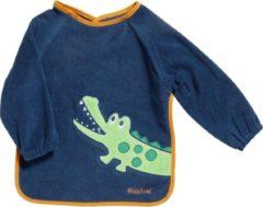 Donkerblauwe Playshoes Slabbetje Met Lange Mouwen Krokodil Blauw 30 X 39 Cm