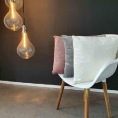 Gebroken-witte Viva Kussen – Sierkussen – Kussens Woonkamer – Luxe Kussen – Zacht – Velvet – 45x45 cm – Off-White - Crème