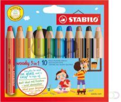 Creativ company STABILO Woody 3 in 1 Kleurpotloden - Etui 10 Stuks