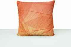 ByCristianne Kussenhoes - Oranje - bladnerf - Woon accessoire - 60 x 60 cm